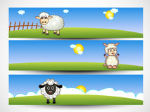 Website header or banner set for Chinese Year of the Goat celebr. Chinese Year of the Goat celebration banner or website header set with cute sheep and space for Royalty Free Stock Images