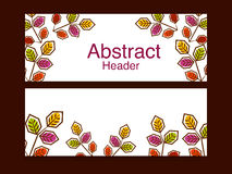 Website header or banner set. Creative stylish website header or banner set for your business with colorful leaves Stock Photography