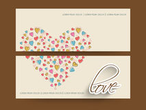 Website header or banner set. Website header or banner set decorated by colorful hearts and text Love Stock Image