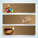 Website header or banner set for Diwali celebration. Website header or banner set with firecrackers and lit lamp for Indian Festival of Lights, Happy Diwali Stock Photo