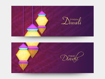 Website header or banner set for Diwali celebration. Stock Photos