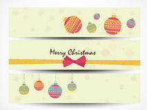 Website header or banner set for Merry Christmas celebration. Beautiful website header or banner set with Xmas Balls and ribbon for Merry Christmas celebration Royalty Free Stock Photography