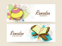 Website header or banner set for Ramadan Kareem celebration. Website header or banner set decorated with Arabic lamps, religious book Quran Shareef and rosary