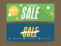Website header or banner set for sale. Beautiful website header or banner set for Clearance Sale with 50% discount offer Stock Photo