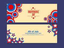 Website header or banner set for 4th of July celebration. Website header or banner set decorated with American Flag colors stars for 4th of July, Independence Stock Image