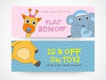 Website header or banner set for toy sale. Stock Image