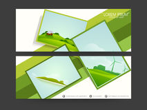 Website Header or Banner set. Set of two official headers with nature scenery frames on white background Stock Photos