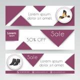 Website header or banner set for women footwear. Stock Images