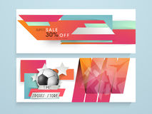 Website header or banner for sports store. Super sale website header or banner for sports store with football Royalty Free Stock Photo