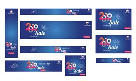 Website header, banner and template set with 70% discount offer. For New year Sale stock illustration