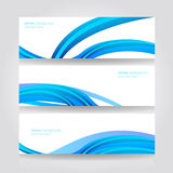 Abstract header blue wave vector design. Website header colorful blue wave banner set vector design Royalty Free Illustration