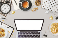 Website header design with laptop computer and feminine glamour business objects. Website header design template with laptop computer and feminine glamour Royalty Free Stock Photos