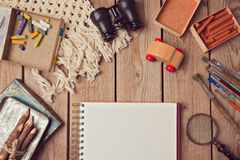 Website header design with notebook and creative vintage objects. View from above Stock Photography