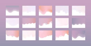 Website header design set in trendy pastel colors with gradient and color transition. vector illustration