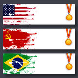 Website Header with Flags and Medals for Sports. Stock Photo