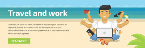 Website header flat illustration of meditating freelancer working on beach Stock Photography