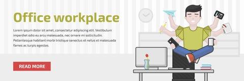 Website header flat illustration of meditating multitasking office worker Stock Photo