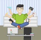 Website header flat illustration of meditating multitasking worker Stock Photography