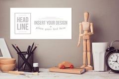 Website header or hero image design with designer desk Royalty Free Stock Images