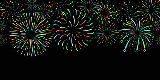 Website header or seamless horizontal banner with festive colorful fireworks on black background Stock Photos