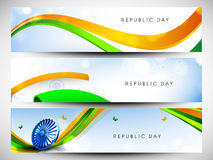 Website Headers or banners set for Republic Day. Royalty Free Stock Photos