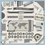 Website headers and navigation elements in retro vintage style. Stock Photos