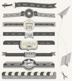 Website headers and navigation elements in vintage style. Royalty Free Stock Photo
