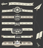 Website headers and navigation elements in vintage style. Stock Photography