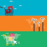 Website Headers or Promotion Banners Templates. shopping online. Vector Illustration. Royalty Free Stock Photos