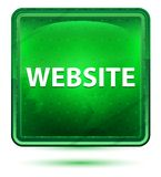 Website-hellgrüner quadratischer Neonknopf lizenzfreie abbildung
