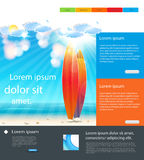 Website Holidays Template background with surfboard Stock Photography