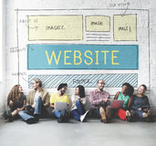 Website Homepage Responsive Design Ideas Concept. People Making Website Homepage Design Ideas Royalty Free Stock Photography