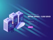 Website hosting isometric, cryptocurrency and blockchain concept. Server farm for mining bitcoins IT 3d vector illustration