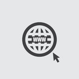 Website icon in a flat design in black color. Vector illustration eps10 Stock Images