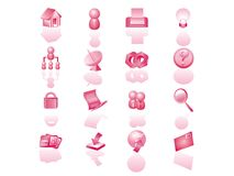 Website icon set. Red color website icon set Royalty Free Stock Images