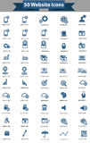 50 Website icon set,Blue version.  Stock Images