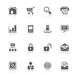 Website icons. Black icons with reflections for web design Stock Photos