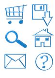 Website Icons - Buttons. Website Icons - Shopping Blue Cart, Email, Home, Download, Magnify Glass, Questions royalty free stock photography