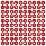 100 website icons hexagon red. 100 website icons set in red hexagon isolated vector illustration Stock Photo