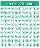 110 Website Icons,High quality,Shadow style,Green. Version on white background vector illustration
