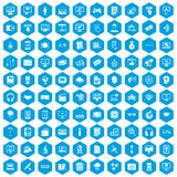 100 website icons set blue. 100 website icons set in blue hexagon isolated vector illustration Royalty Free Stock Photo