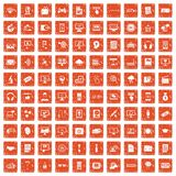 100 website icons set grunge orange. 100 website icons set in grunge style orange color isolated on white background vector illustration vector illustration