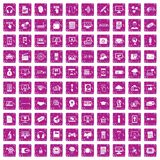 100 website icons set grunge pink. 100 website icons set in grunge style pink color isolated on white background vector illustration vector illustration
