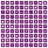 100 website icons set grunge purple. 100 website icons set in grunge style purple color isolated on white background vector illustration Stock Photos