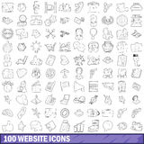 100 website icons set, outline style. 100 carnival icons set in outline style for any design vector illustration Stock Photos