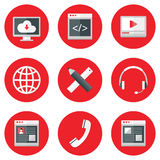 Website Icons Set over Red Royalty Free Stock Photography