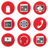 Website Icons Set over Red with Shadows. Illustration of Website Icons Set over Red with Shadows. Design, coding, service, media, profile, hosting Royalty Free Stock Photo