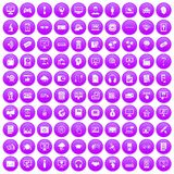 100 website icons set purple. 100 website icons set in purple circle isolated on white vector illustration Stock Illustration