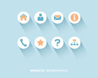 Website info-graphic with flat icons set stock illustration