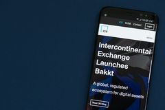 Website of Intercontinental Exchange NYSE: ICE with announcement of launching Bakkt. KYRENIA, CYPRUS - SEPTEMBER 1, 2018: Website of Intercontinental Exchange royalty free stock photo